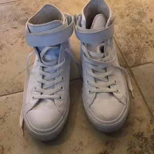 White Leather High Top Converse All Stars